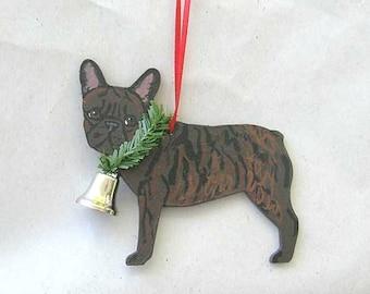 Hand-Painted FRENCH BULLDOG BRINDLE Wood Christmas Ornament...Artist Original, Christmas Tree Ornament Decoration