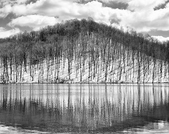 Mountain Photography, Lake Print, Winter Landscape, Reflection, Snow, Woods, Trees, Nature, Mountains, Country Home Decor  - A Winter's Day