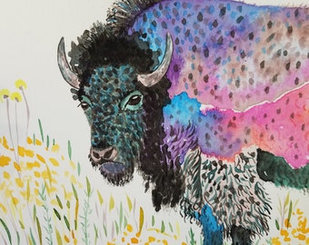 bison painting, abstract watercolor art, colorful wildlife painting