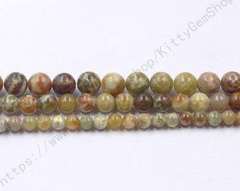 6-10mm Serpentine Jade Beads MHA-188