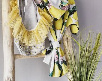 Lemonade stand toddler bikini / swimwear /bathing suit/ baby swim suit, lace ruffle, yellow swim suit, baby clothes, toddler clothes,