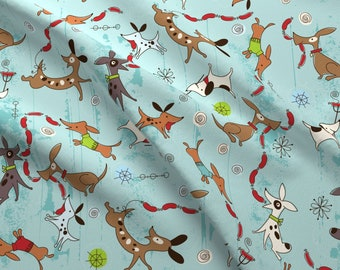 Dogs Fabric - Dog Eat Dog By Cynthiafrenette - Dogs Puppy Playful Cute Blue Cotton Fabric By The Yard With Spoonflower