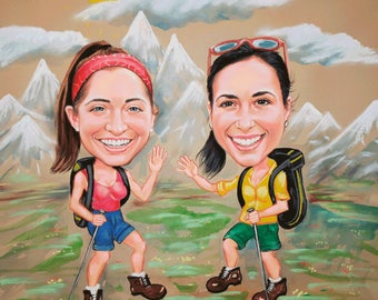Custom caricature,Hiking, Caricature Gift, Handmade, Personalised,Sport, from Photo, Custom Personalized, Hand Painted,2 Person, pastel, fun