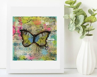 One of a kind original canvas art. 6x8 inches. Butterfly. Inspirational art. Create. Beautiful for any room