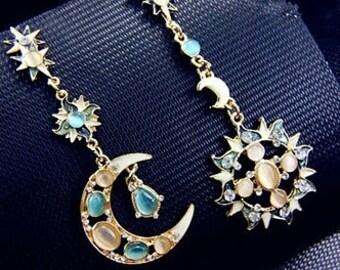 Statement earrings Drops Stars Gem Bohemian Sun Moon Earrings Pink Blue Natural Opal Dangle Jewelry