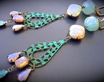 "Earrings Retro Bohemian ""Capricious opals..."""