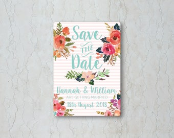 Watercolour Floral Wedding Save the Date Card or Magnet