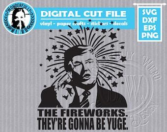 Trump Fireworks Single Layer Cut File SVG