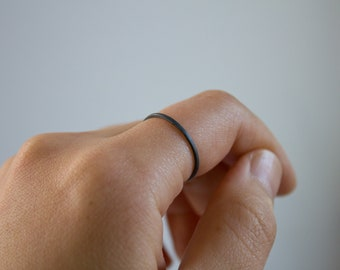 Single Ring - Square Wire Whisper Ring - sterling silver stacking ring - polished/matte/oxidized finish - minimalist - handmade