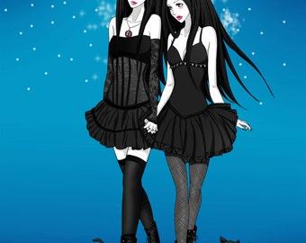 "Couple of Cat Girls Art Print - 8""x10"" or 11x14"" - original anime manga art little mermaid girl - Bianca Loran Art"