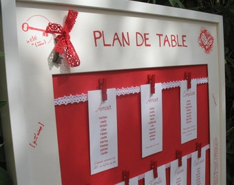 Seating table plan red and white