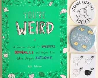 You're Weird Gift Pack (creative journal - adult coloring - coloring book - you're weird - gift under 25 - be yourself - let's get weird)