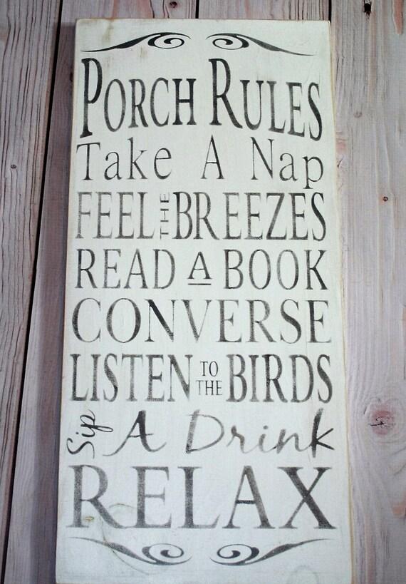 Porch rules sign Porch sign Porch rules Porch decor