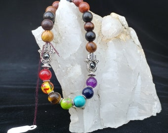 Chakra Bracelet with Hematite and Wood