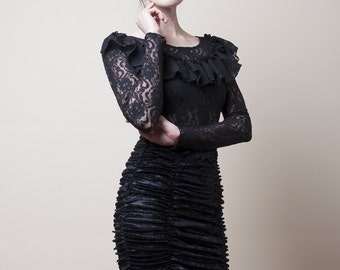 Victorian Black Lace Blouse with long Sleeves-Made to Measure