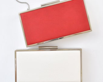LEATHER box clutch - 8.5x4.5 inches - Red / White