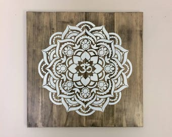 Wood Om Mandala Art, Grey Rustic Decor, Boho Home Decor, Beach House Wall  Art, Mandala Painting, Yoga Art, Timber Art, White Mandala