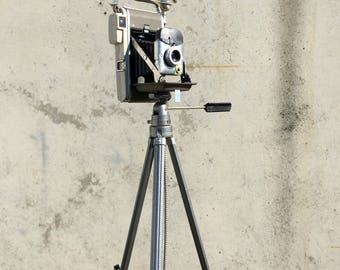 Tripod Floor Lamp, Camera Tripod Lamp, Antique Camera, Polaroid Model 80A Camera, Industrial Floor Lamp, Bilora Adjustable Tripod