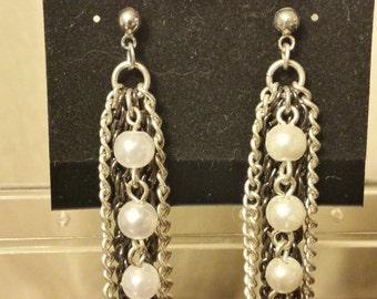 Chain & Glass Pearl Post Earrings