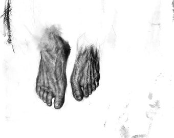 The washing of the feet - drawing, limited edition