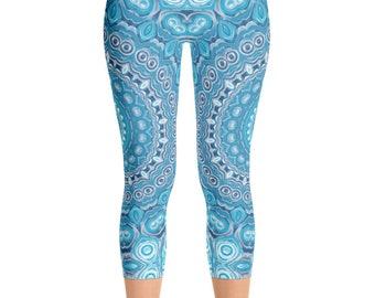 Capris Leggings Yoga Blue, Printed Yoga Tights, Mandala Art Pants, Blue Leggings, Womens Stretch Pants