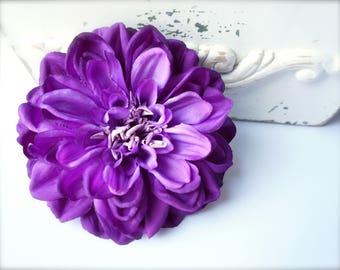 Large Purple Hair Flower Dahlia Clip, Purple Wedding