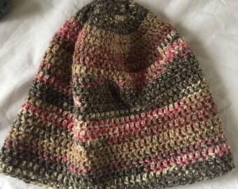 Grey and pink handmade slouchy crochet beanie