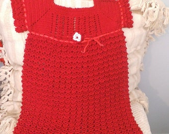Vintage CHILD'S Christmas RED Crochet Christmas Dress ~ size 3 T