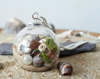 Beach Necklace, Glass Orb Necklace, Seashell Jewellery, Beach Wedding Jewellery, Nature Lover Gift, Ocean Jewellery B 03/04