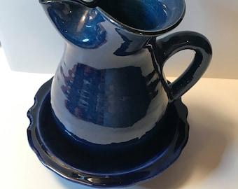 Vintage Pitcher and Bowl Set Cobalt Blue