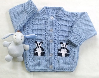 Panda baby cardigan - 0 to 6 months - Hand knit baby clothes - Baby shower gift - Knit panda baby sweater