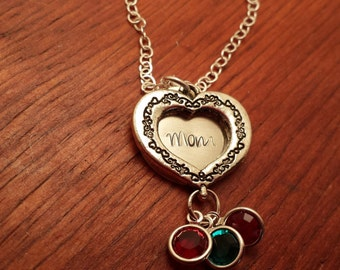 Hand Stamped Personalized Mom heart necklace, Swarovski birthstone, Mom jewelry, Kids birthstones, Mother's Day, Mom gift, Sterling silver