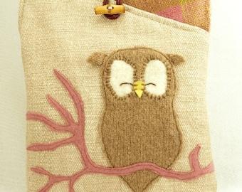 Owl Shoulder Bag Cotton Linen Messenger Bag Natural Color Beige Pink White Owl Applique Adjustable Strap Upcycled Eco Friendly
