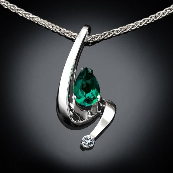emerald necklace, May birthstone, emerald pendant, white sapphire, fine jewelry, artisan jewelry, Argentium silver, Chatham emerald - 3380