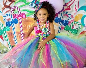 Candyland tutu dress-Candy land tutu dress- candy land party birthday dress