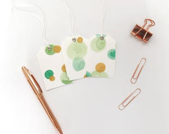 Set of 3 Green and Gold Blank Birthday Tags, Handmade Swing Tags, Hand Painted Watercolour Art Tags, Wine Bottle Gift Wrap Tags, Party Favor