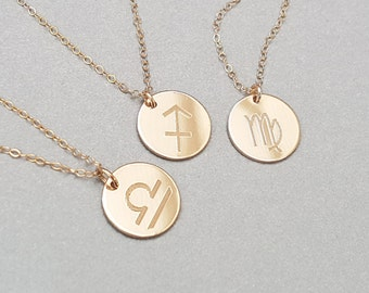 Reversible Personalised Zodiac Necklace - Secret Message Necklace - Charm Necklace - 14k Gold Fill or Sterling Silver -ND01-G/S