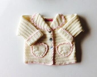 Baby cardigan, crochet cardigan, cream cardigan, boy/girl cardigan, custom sizes from 3 to 24m