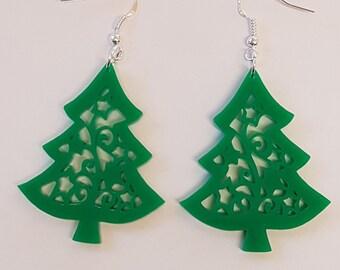 Christmas Tree Earrings - Acrylic