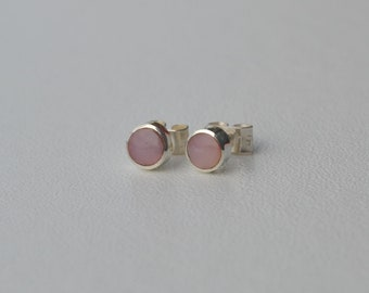 Mini-studs : pink rhodonite and sterling silver