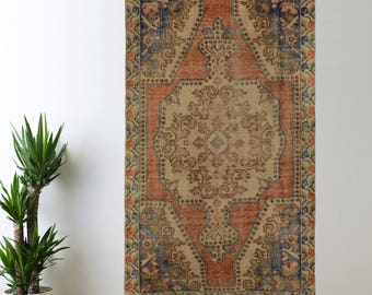 Turkish Rug Oushak Muted Handwoven Rug Turkish Antique Rug 4.2 ft x 7.2 ft F-08