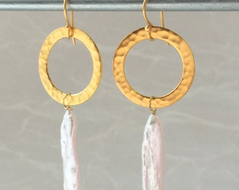 Gold Hoop Earrings - Baroque Pearls - Long Pearl Drops - Gold Pearl Jewelry - Boho Gold Earring