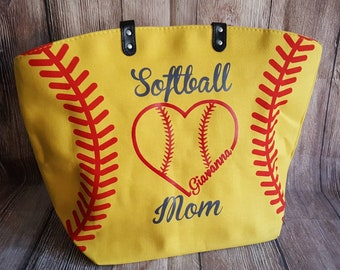 PREORDER Softball Mom Baseball Heart Personalized Softball Tote Bag Yellow Softball Tote Bag Custom Last Name Nickname Number Mother's Day