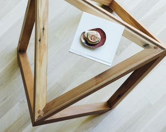 Tre side table, coffee table, end table, walnut with glass inlay top