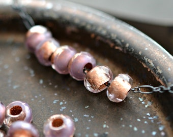 Lavender Fields - Premium Czech Glass Beads, Transparent Clear, Lavender, Metallic Copper Lined, Rollers 6x9mm - Pc10