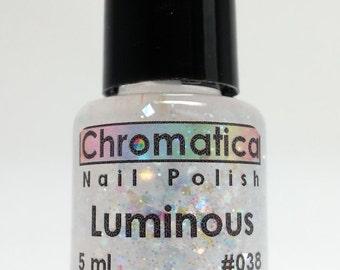 Luminous-Handmade Iridescent Glitter Topper/Overlay, Indie Nail Polish, 5ml Mini Bottle