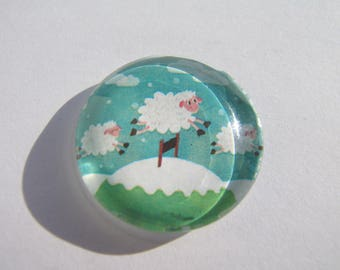 Sheep 25 mm round domed cabochon