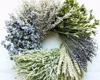 Little Cutie Dried Wreath | Cool Tone Dried Wreath | Mixed Dried Wreath