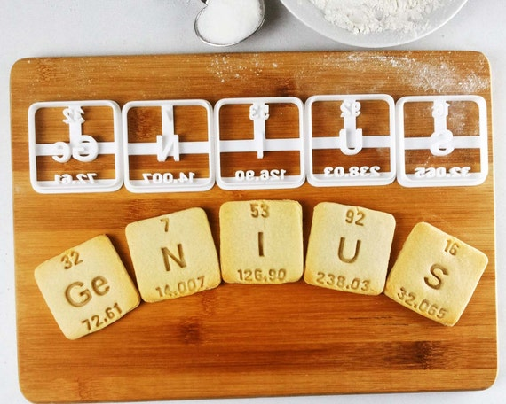 Genius and nerdy cookie cutters periodic table elements inspired genius and nerdy cookie cutters periodic table elements inspired germanium nitrogen iodine uranium sulfur with atomic number weight from bakerlogy on urtaz Image collections