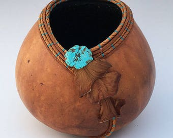 Gourd Bowl with Philodendron Sheaths- Item 701